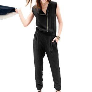 J Crew asymmetrical zip black jumpsuit sz O